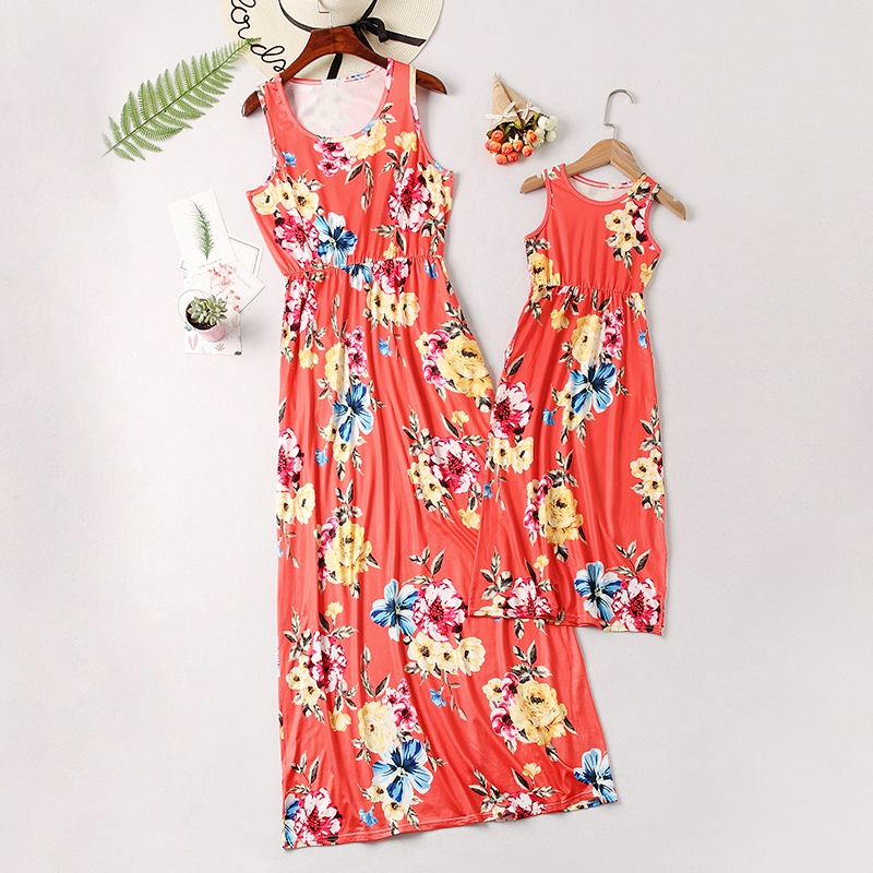 c418ba085 Sale فستان ماكسي بدون أكمام - مطبع أزهار - لي و لإمي at PatPat.com
