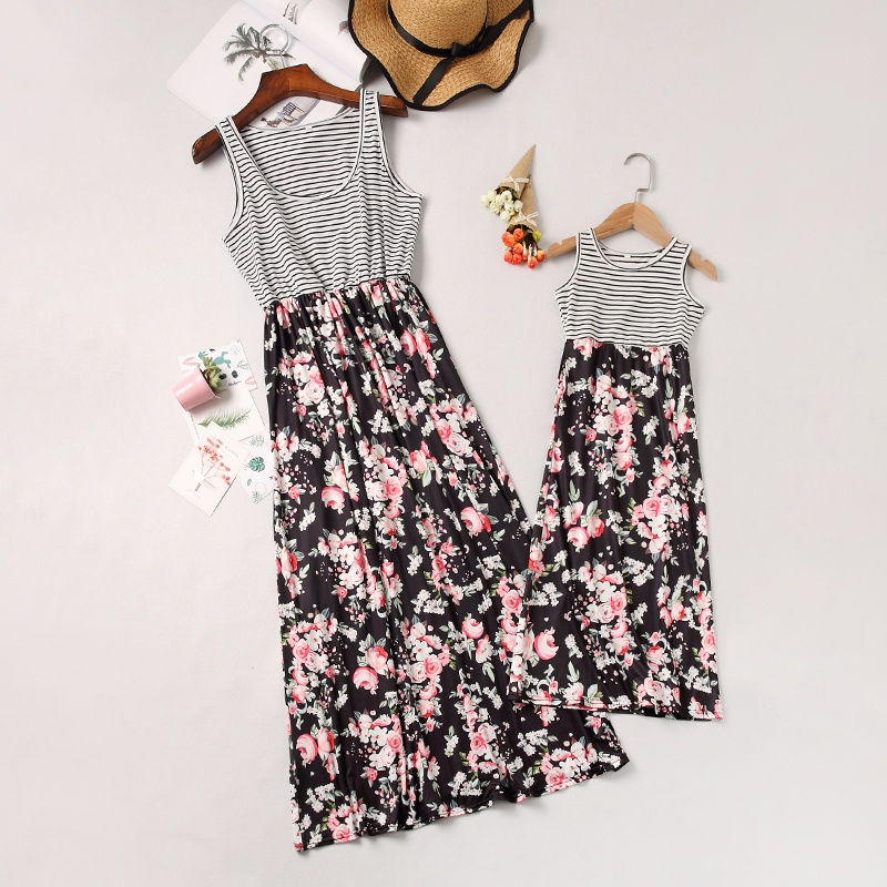 ec2c6213f Mom and Me Trendy Stripes Floral Stitching Matching Maxi Dress at ...