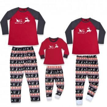 Casual Christmas Deer Print Top and Pants Family Matching Set