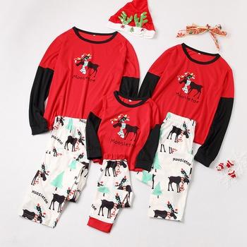 Stylish Christmas Reindeer Print Top and Pants Family Matching Set