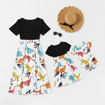 Cute Dinosaur/Unicorn Short-sleeve Matching Dresses
