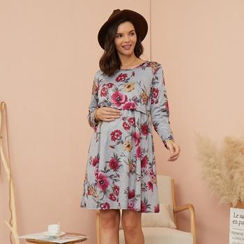 Maternity Round collar Floral full print Knee length A Long-sleeve Nursing Dress