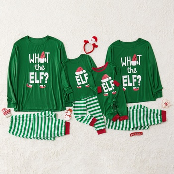 Family Matching Letter and Christmas Hat Print Stripe Pajamas Sets (Flame Resistant)