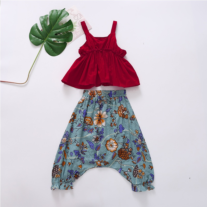 6d05a1cd Kid Casual Solid Ruffled Tank Top and Floral Bloomers Set at PatPat.com