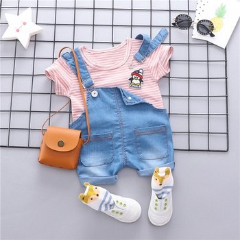 b349c9501d4b I Love Milk Lion Printed 2-Piece Cotton Shirt and Overalls Set for ...