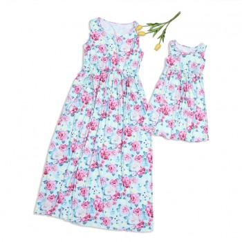 Stylish Floral Sleeveless Matching Dress for Mom and Me