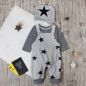 3-piece Trendy Striped Long-sleeve Tee, Suspender Trouser and Hat Set for Baby Boy
