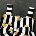 2-piece Lovely Striped Polka Dots Bow Decor Strap Dress and Headband Set