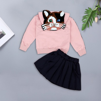 Trendy Letter Print Cat Applique Solid Hooded Pullover and Skirt Set