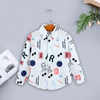Fashionable Cartoon Print Long-sleeve Shirt for Baby and Toddler