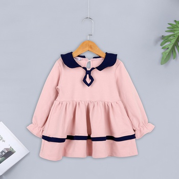 Causal Preppy Style Color Blocked Collar Puff-sleeve Dress