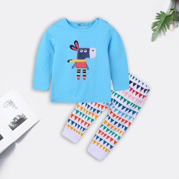 Colorful Cartoon Donkey Embroidered Top and Triangle Pants for Baby
