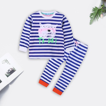 Casual Striped Cat Applique Tee and Pants Pajamas Set
