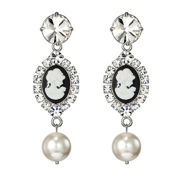 Retro Woman Design Rhinestone Stud Earrings