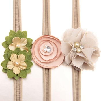3-piece Flower and Pearl Decor Headband