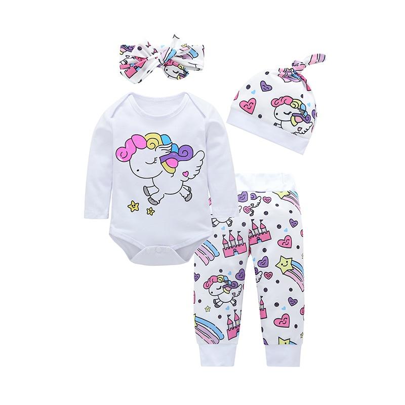 223880c7d90d 4-piece Cute Unicorn Print Romper, Pants, Headband and Hat Set for Baby Girl
