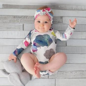 Sassy Cloud Patterned Long-sleeve Romper and Headband Set for Baby Girl