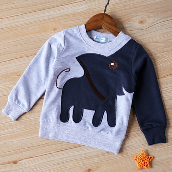 Funny Long-sleeve Elephant Top for Toddler Boy