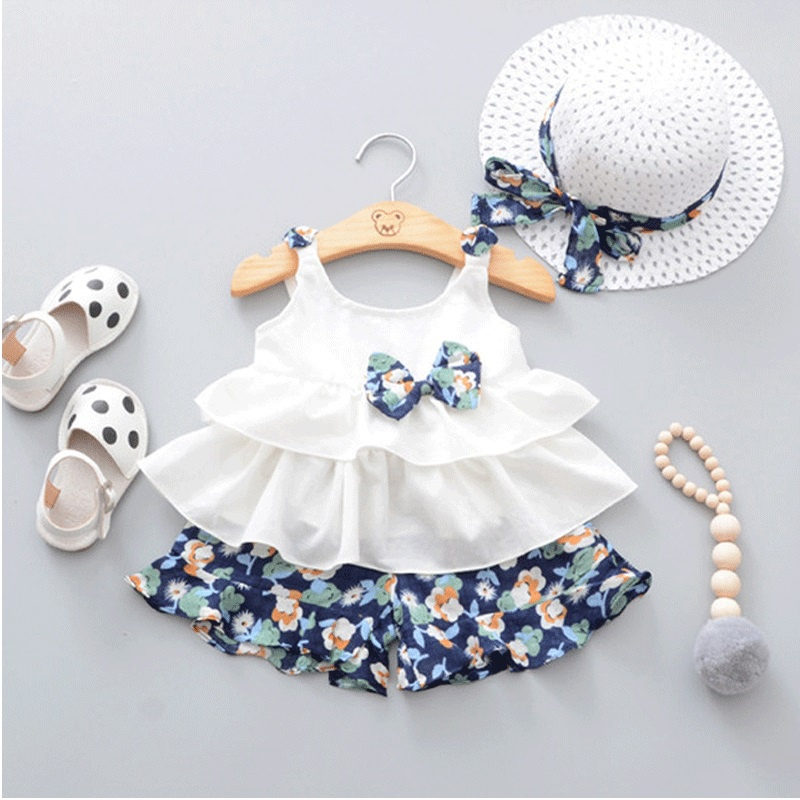 Adorable Bowknot Ruffle Sleeveless Top and Floral Shorts Hat Set for Baby  Girl 7f9ccbf385b