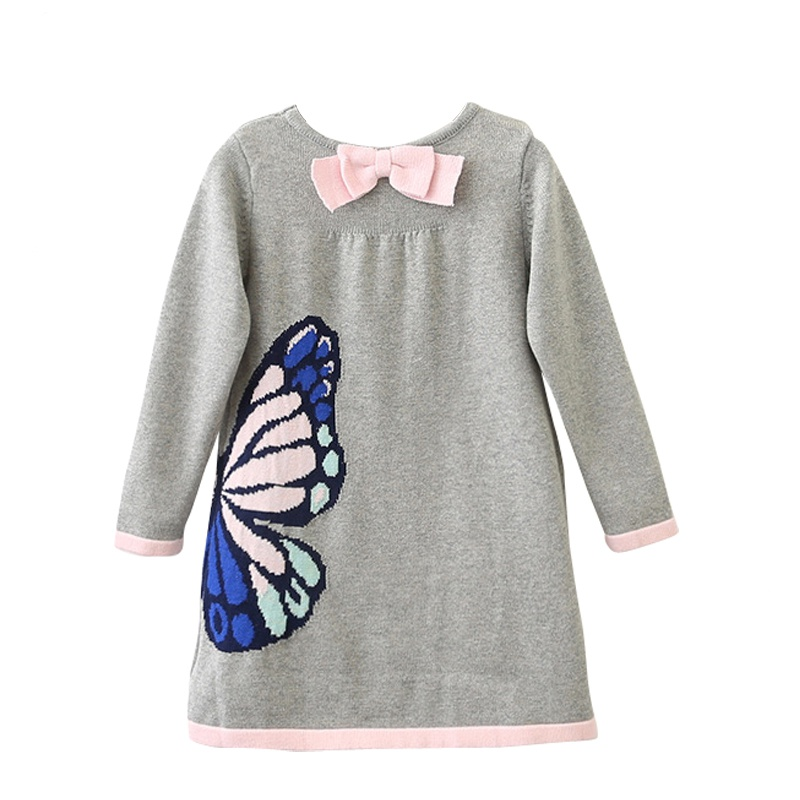 124494d33fb6 Kid Stylish Butterfly Graphic Long-sleeve Knitted Dress for Toddler ...