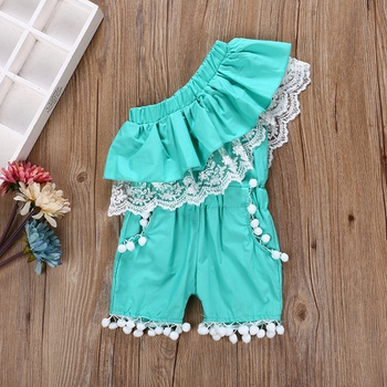 8e8e96b4a3 Stylish Lace and Pompom Decor One Shoulder Romper for Toddler Girl and Girl