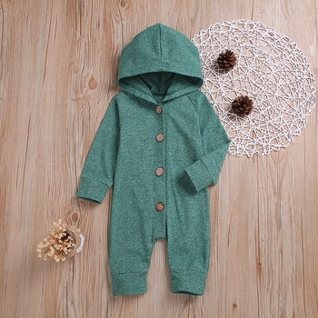 Cozy Hooded Long-sleeve Jumpsuit in Green for Baby