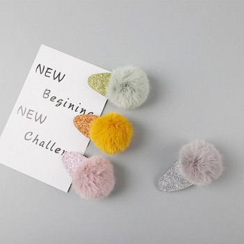 4-piece Cute Solid Faux-fur Pompom Hair Clips