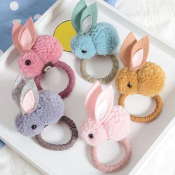 5-piece Adorable Felt Easter Rabbit Elastic Hair Ties