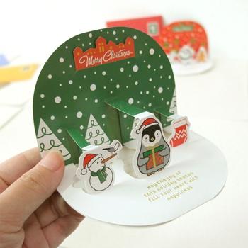 10-piece Creative Cartoon Design 3D Christmas Cards