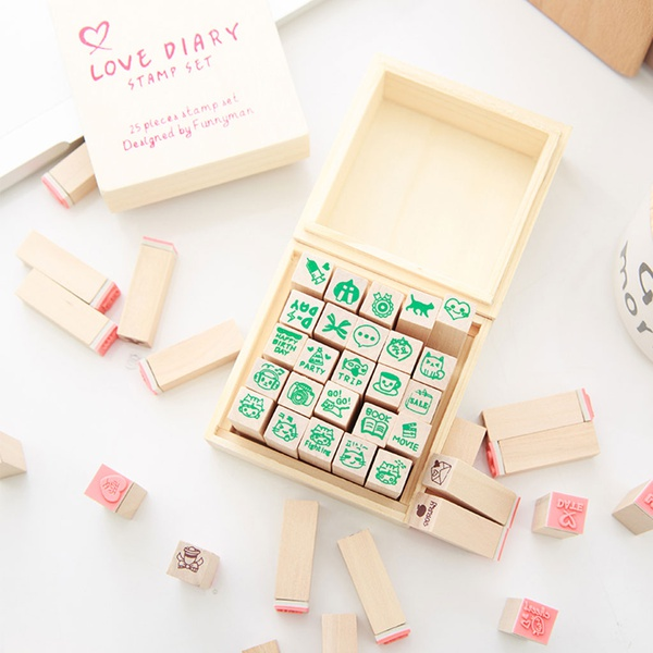 25-piece Cute Face Design DIY Stamps Set for Diary and Album