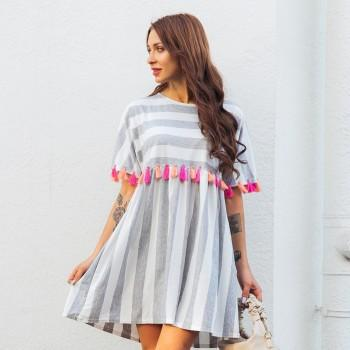 Charming Stripe Tassel Short-sleeve Dress