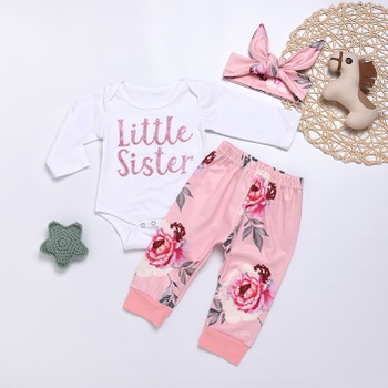 3-piece Pretty LITTLE SISTER Bodysuit, Floral Pants and Headband Set