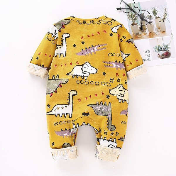 Lovely Dinosaur Patterned Long-sleeve Jumpsuit