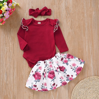Pretty Red Flounce-sleeve Bodysuit, Flower Patterned Skirt with Headband Set