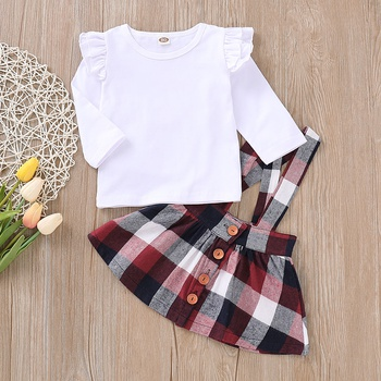 2-piece Stylish Solid Flounced Top and Plaid Suspender Skirt Set