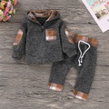 Casual Plaid Splice Hooded Long-sleeve Top and Pants Set for Baby