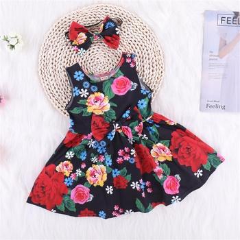 2-piece Floral Print Sleeveless Dress and Bowknot Headband Set