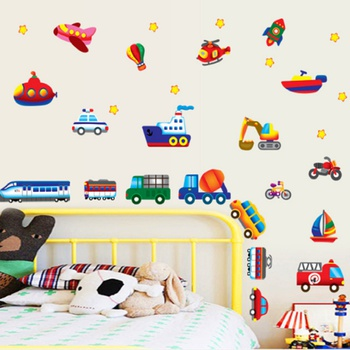 Removable Cartoon Vehicle Design Wall Sticker