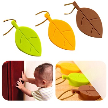 Silicone Cartoon Leaves Shaped Door Stops Protection Child Baby Safety Clamp Handheld Device Door Card