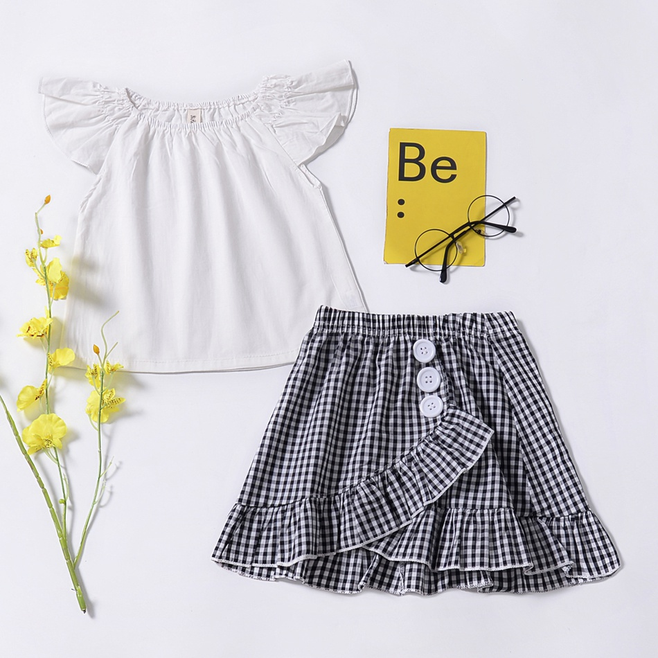 d101cb5bd Toddler Baby/ Toddler Girl's Flutter-sleeve Top and Plaid Skirt at ...