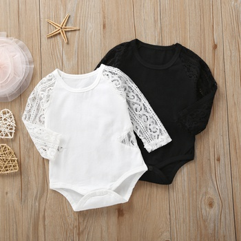 Baby Girl Lace Hollow Design Long-sleeve Romper