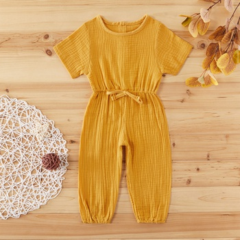 Baby / Toddler Girl Casual Solid Button Decor Jumpsuits