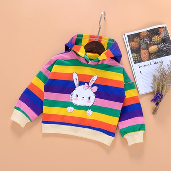 Baby / Toddler Rabbit Rainbow Striped Long-sleeve Hooded Pullover