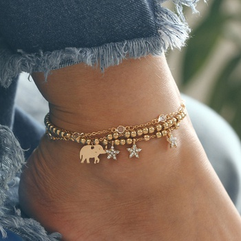 Elephant Decor Stars Tasseled Anklet