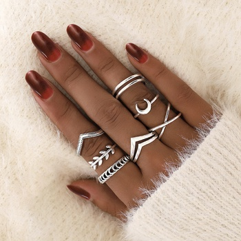 7-pcs Vintage Leaf Moon Knuckle Rings Geometric Female Finger Rings Set Jewelry Gift