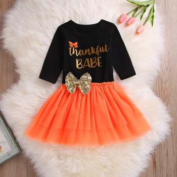 e339f62f84c Comfy THANKSGIVING Letter Print Bodysuit and Tulle Skirt Set