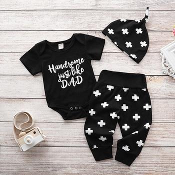 cfeb8e656 3 piezas de traje y pantalones con el sombrero de conjunto para el bebé  feliz del día de padre