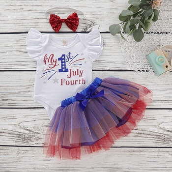4f0577fbfe62 3-piece Baby 4th July Independence Day 1st Print Bodysuit, Dress and  Headband Set