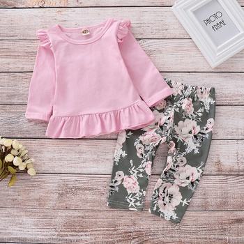 Pretty Ruffled Long-sleeve Top and Allover Floral Pants Set for Baby