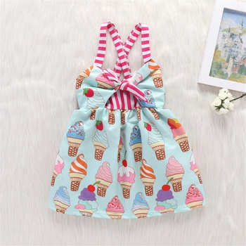 Cute Ice Cream Print Striped Tie-up Strap Dress